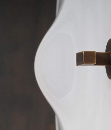 Lampe de table - ORBE - Bronze + Soie - Détail