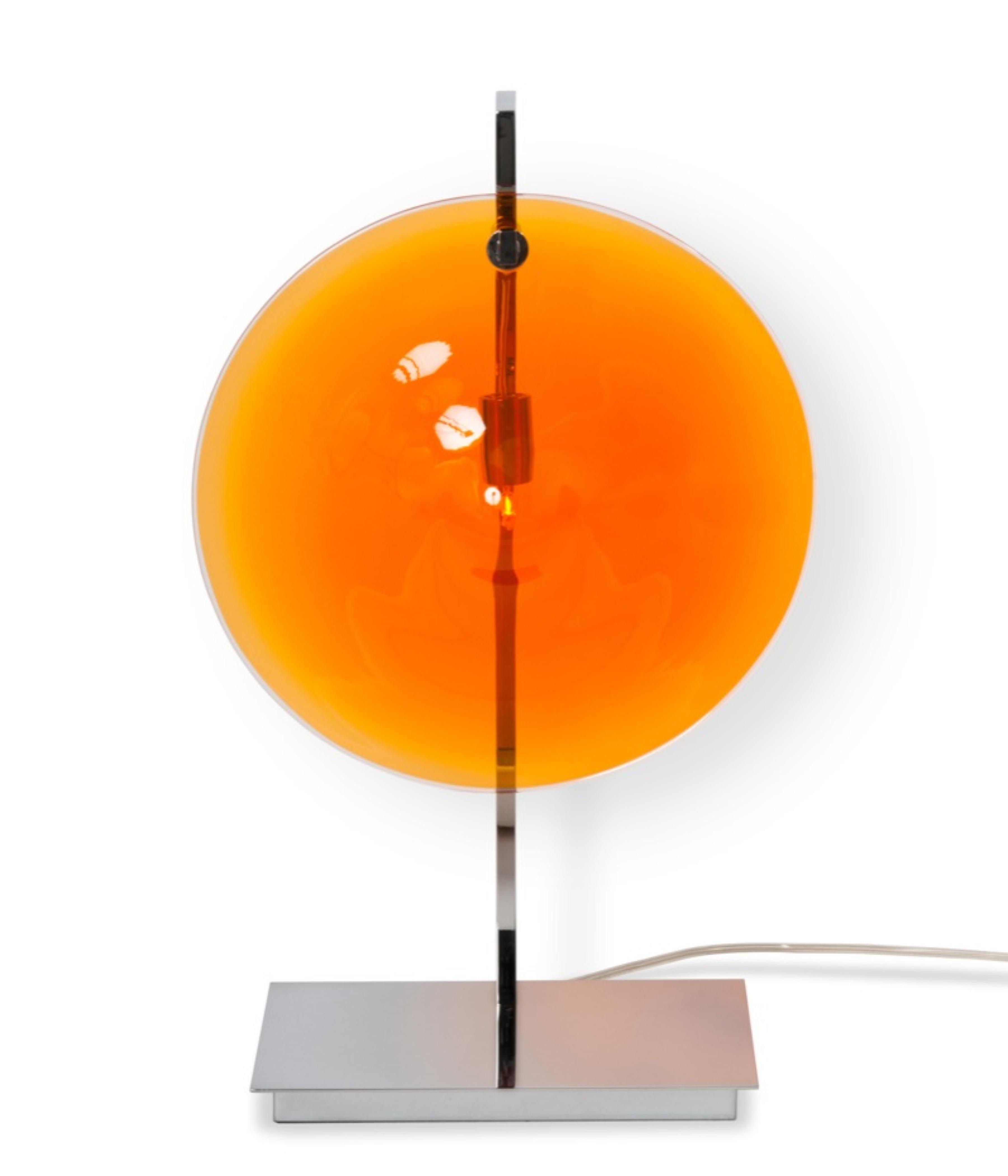 lampe de table orbe chrome orange patrick e naggar. Black Bedroom Furniture Sets. Home Design Ideas